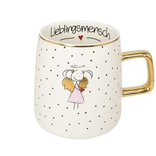 Mea-Living - Taza con asa dorada 'Lieblingsmensch', color rosa