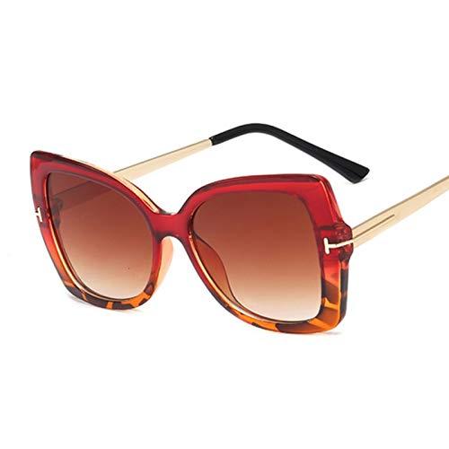 HAOMAO Gafas de Sol de protección de Gran tamaño para conducción gradiente para Mujer Uv400 Vintage Goggle Redleopard