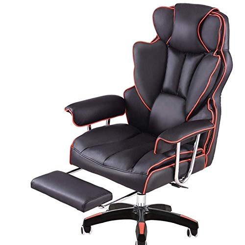 N/Z Home Equipment Reclining Leather Office Chair Game Chair Chair With Footrest High Back Executive Adjustable Rolling Swivel Chair_Nylon Feet_Fixed Armrest
