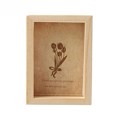 KTISMYRBBGFFSFD Marco de fotos de madera de 3 tamaños, decoración de pared de madera, caja de exhibición de pintura para niños, marco de fotos hecho a mano, decoración del hogar, 7,8 x 6,6 cm