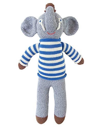 Blabla Rivier The Elephant Plush Doll - Knit Stuffed Animal for Kids. Cute, Cuddly & Soft Cotton Toy. Perfect, Forever Cherished. Eco-Friendly. Certified Safe & Non-Toxic.