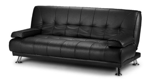 Stunning 3 Seat Designer Sofa Bed Faux Leather Chrome New Black Cream Brown (Black)