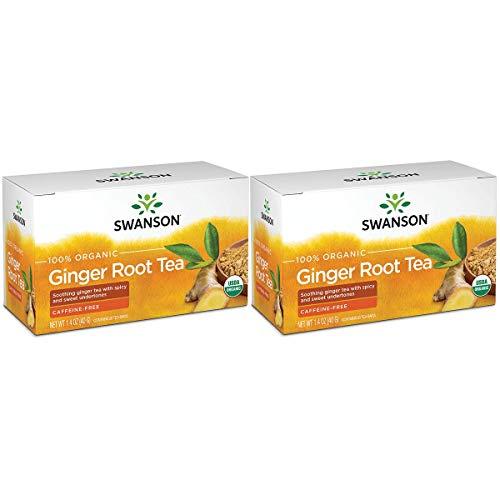 Swanson 100% Certified Organic Ginger Root Tea 20 Bag(S) (2 Pack)