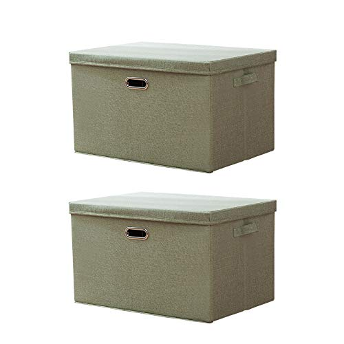 A Set of 2 Foldable Cotton Linen Storage Bins Box Containers Dresser Drawer Closet Organiser, Household Toys Baskets Kids Boxes for Socks, Underwear, Bras, Ties, Scarves,Green,37 * 27 * 26cm