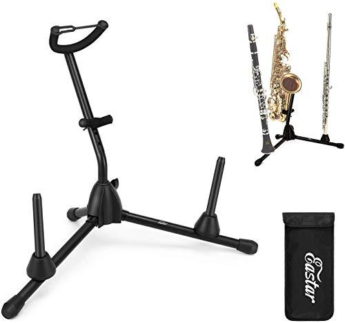 Alt-/Tenorsaxophonständer mit abnehmbarem Flöten-/Klarinettenhalter, Eastar tragbarer Ständer für Altsaxophon, Tenorsaxophon, Klarinette und Flöte (EST-004)