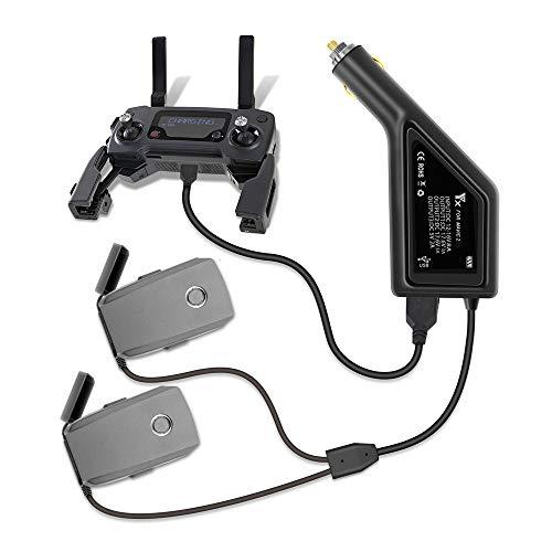 Tineer Caricabatteria da Auto 3in1 con Porta USB Caricatore remoto da Auto, Smartphone e Tablet per Accessori DJI Mavic 2 PRO e Zoom Drone