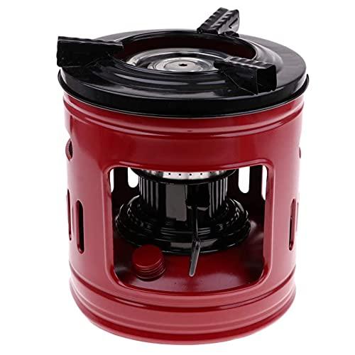 Estufa de queroseno - Estufa de campamento portátil de 10 núcleos Estufa de queroseno de 1.5L 3-5 personas Estufa de picnic todo en uno Sin humo e insípido Tanque de queroseno redondo rojo retro