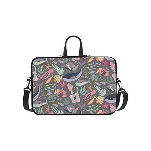 15.6″Durable Hombro Mensajero Bolsa maletín PC Peces Animales Marinos Moda Impermeable Ordenador Portátil/portátil/Tablets