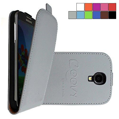 COOVY® Cover für Samsung Galaxy S4 GT-i9500 GT-i9505 GT-i9506 Slim Flip Case Tasche Etui inklusive gratis Displayschutzfolie | Farbe grau