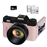 VETEK 4K Digital Camera, 48MP 16X Digital Zoom Flip Screen Autofocus Camcorder for Photography on YouTube, with Wide-Angle Lens and Macro Lens, 32G Micro Card, 2 Batteries (Pink)