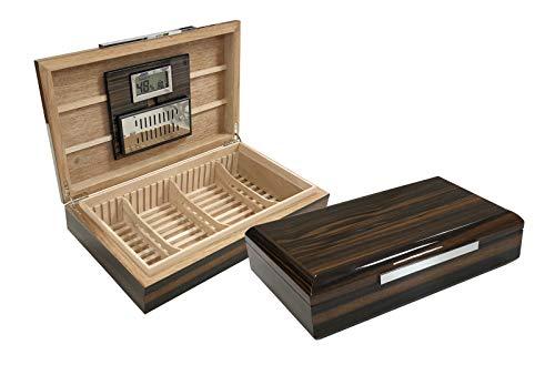 Prestige Import Group Vanderbilt Desktop High Lacquer Low Profile Cigar Humidor w/Aerator Grate & Slide & Lock Dividers - Holds Up to 120 Capacity - Color: Ebony