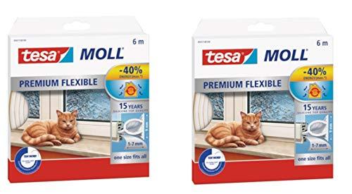 tesamoll premium flexibles Dichtungsband/Für Tür- und Fensterspalten/Gegen kalte Zugluft, Lärm und Staub/Selbstklebend, wasserundurchlässig/Für Spaltenbreiten von 1-7mm Weiß (2 Packungen)