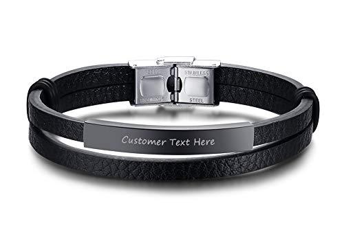 PJ JEWELLERY Personalisierte gravierte Edelstahl geflochtene Schwarze Leder ID Manschette Armbänder für Männer und Frauen, 8,2