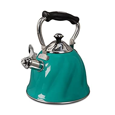 Mr. Coffee Alderton Stainless Steel Whistling Tea Kettle, 2.3-Quart, Green