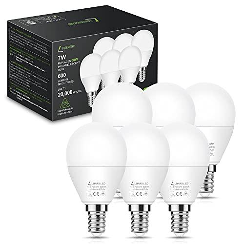 LOHAS Lampadina LED E14, 7W P45 Lampada da Golf, Lampada a Incandescenza Sostituita da 60W, 3000K Bianco Caldo, 600LM, Lampadine Non Dimmerabile, 220-240V, Risparmio Energetico, Confezione da 6 pezzi