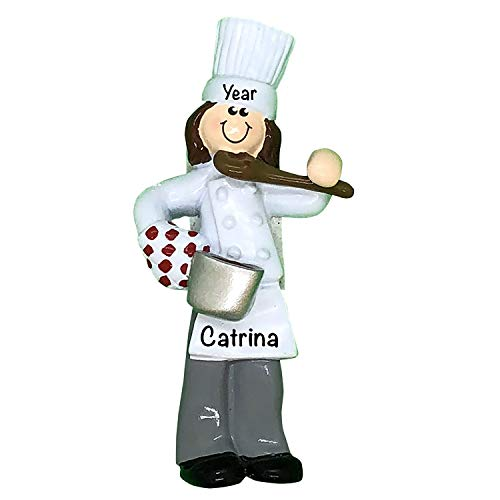 Personalized Girl Chef Ornament 2021 – Chef Christmas Ornament – Polyresin Chef Coat Culinary Ornament – Cooking Ornaments for Christmas Tree – Kitchen Ornaments – Baking Ornament – Chef Figurine