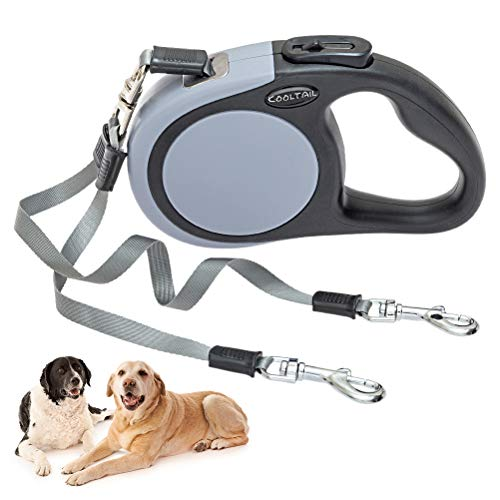 Dual Retractable Dog Leash - Walk 2 Dogs up to 110 lbs - Heavy Duty Double Headed 16 ft Extendable Dog Leash for Small Medium Dogs Walking Training