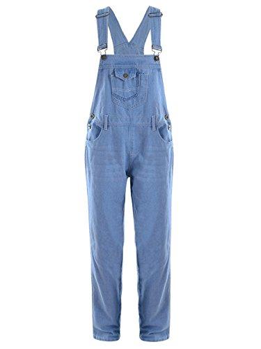 ANNA-KACI Frauen-Denim Blue Jeans Gerades Bein Taschen Latzhose, Helle Blau, L/XL