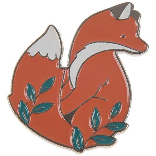 Gesh Broche de zorro de dibujos animados de plata con diseño de zorro en el bosque para niños, alfileres de solapa con hebilla, bolsa de accesorios de regalo