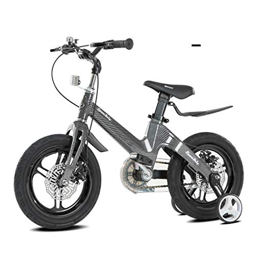 Kid Bike Magnesium Alloy Frame,Children Bicycle 12 14 16 18 Inch with Training Wheel Pedal Safer Disc Brake Bell Ring Easy Assembly for Boys Girls -Black Best Gift, 16 Inches