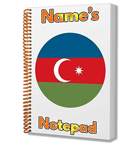 Gepersonaliseerd cadeau - Azerbeidzjaanse vlag A5 notitieboekje/notitieboekje - Cadeau - Verjaardag - Kerstmis - Voorraadvuller - Geheime kerstman - ADD Elke naam