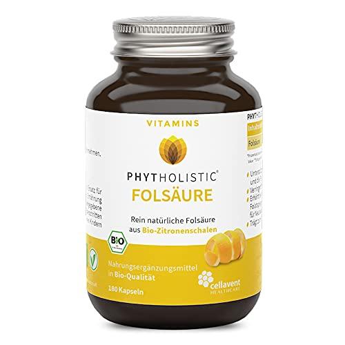 Bio Folsäure Kapseln – 6-Monatspackung – 500 µg – rein pflanzlich – vegan – aus Zitronenschalen – 180 Kapseln