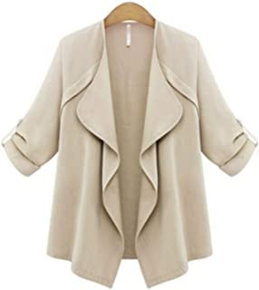 Women Autumn Spring Solid Long Sleeve Loose Plus Coat Cardigan Perfect Gifts Plus Size