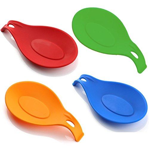 HelpCuisine® Poggiamestoli/Poggiacucchiai realizzati in silicone alimentare privo di BPA, termoresistente e durevole, set da 4 (rosso, verde, arancione e blu)