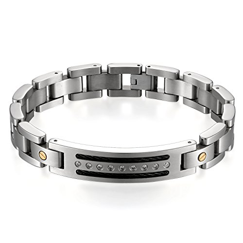 JewelryWe pulsera hombre alto pulido falso diamante cadena de mano acero inoxidable Fantasía joyas color plata con bolsa regalo