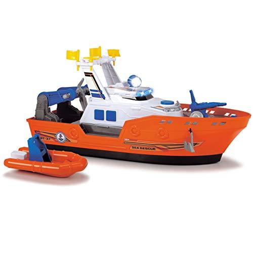 Rettungsboot mit Wasserpumpe Licht und Sound 40 cm Spielzeug Einsatzfahrzeug Spielzeugboot Kinder Spielzeug Boot ab 3 Jahren Kinderspielzeug Schiff Fahrzeug Batterien Badespielzeug Wasserspass Wasser