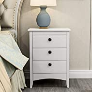 LIFE CARVER Premium Quality Beside Cabinet White 3 Drawers Bedside Table Bedroom (Bedside Table)