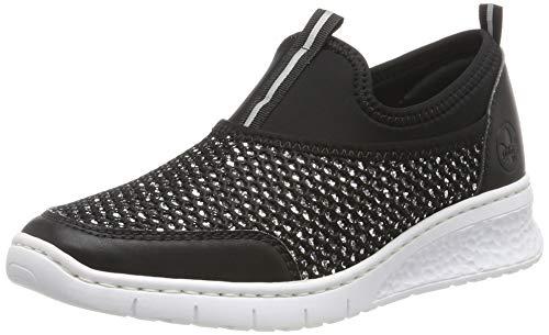 Rieker Damen 581Q2-00 Slip On Sneaker, Schwarz (Silber/Schwarz 00), 39 EU
