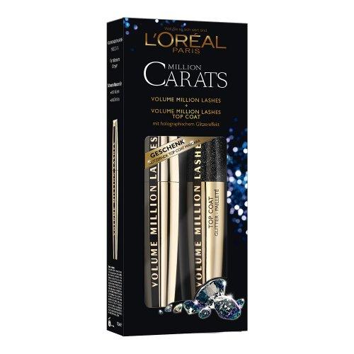 L'Oréal Paris Weihnachtscoffret, Volume Million Lashes Mascara plus gratis Topcoat Hologram, 1er Pack (1 x 10 ml)