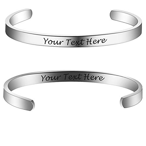 6MM Personalized Inspirational Bracelet Custom Engraved Name Mantra Quote Any...