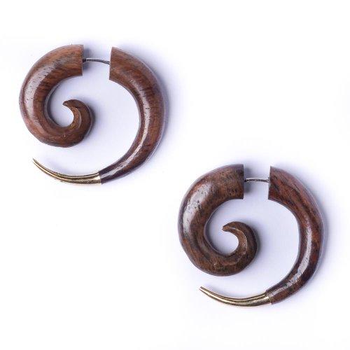 81stgeneration Women's Men's Brown Wood Brass Gold Tone 30 mm Fake Stretcher Spiral Tribal Earrings