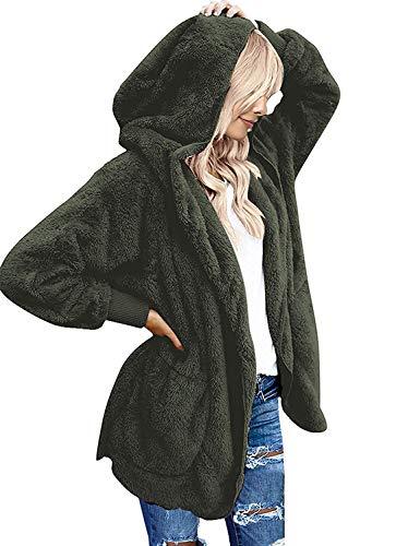 Yanekop Womens Fuzzy Fleece Open Front Hooded Cardigan Jackets Sherpa Coat with Pockets(Army Green,M)