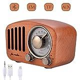 Qoosea Radio Portable Haut-parleurs Bluetooth Faits à la Main Rétro en Bois Bluetooth 4.2 Mini Haut-Parleur avec Caisson de...