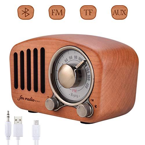 Qoosea Radio Portable Haut-parleurs Bluetooth Faits à la Main Rétro en Bois Bluetooth 4.2 Mini Haut-Parleur avec Caisson de Basses Super Graves avec Radio FM Prise D'entrée Audio