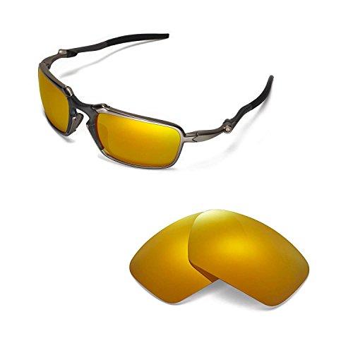 Walleva Replacement for Lenses Oakley Badman Sonnenbrille - Mehrere Optionen (24K Gold Mirror Coated - Polarisiert)