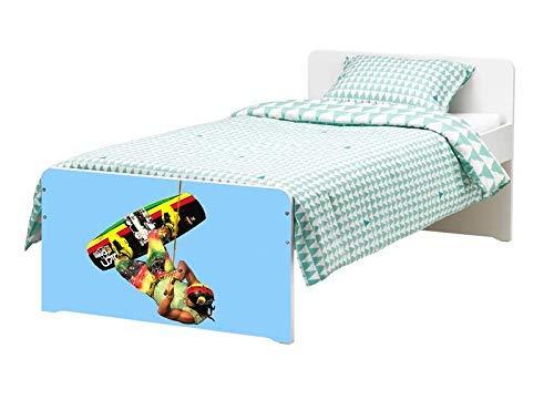 Möbelaufkleber für Ikea SLÄKT Bett wakeboarding waken Kat8 wakeborden Sport bed Aufkleber Möbelfolie Tür sticker Folie (Ohne Möbel) 25K685