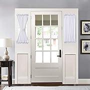HOME BRILLIANT Room Darkening French Door Panels Drapes Linen Textured Window Treatment for Front Door Set of 2, 30 x 40, White