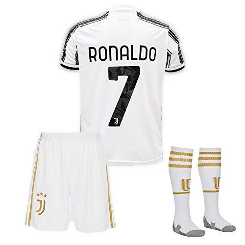 Juventus #7 Cristiano Ronaldo Trikot Set 2019-2020 Heim Kinder Fußball Trikot mit Shorts und Socken Kindergrößen
