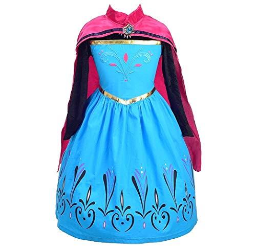 La Senorita ELSA Frozen Kostüm Krönung Eiskönigin Kostüm Prinzessinnen Kleid + Gratis Frozen Kette (Größe 4-5 Jahre - 104-110 (120))