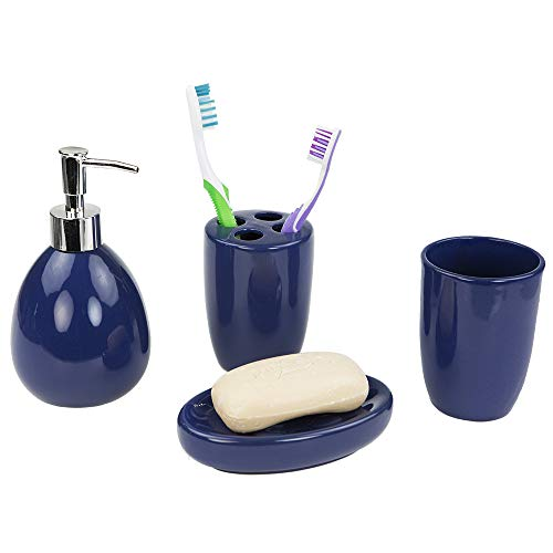 Home Basics 4-Piece Bathroom Accessory Set, Includes Soap/Lotion Dispenser, Toothbrush and Toothpaste Holder, Soap Dish, and Tumbler, Navy