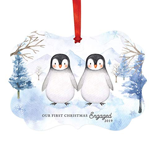 Our First Christmas Engaged  Penguins Ornament