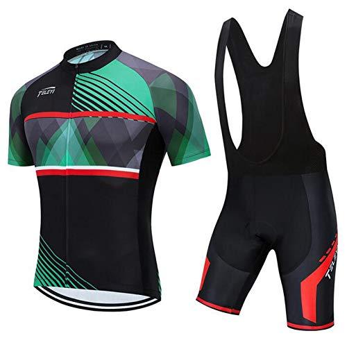 QWA Jersey de Ciclismo para Hombre + Pantalón Corto Acolchado con Gel 20D Conjunto, Secado Rápido Pro Equipo de Ciclismo Desgaste (Color : Black 1, Size : B(S))
