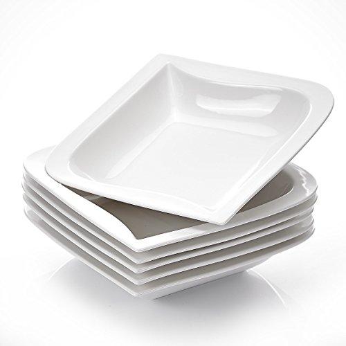 MALACASA, Serie Joesfa, 6 teilig Set CremeWeiß Porzellan Suppenteller 8,5 Zoll / 21,5x21,5x5 cm für 6 Personen