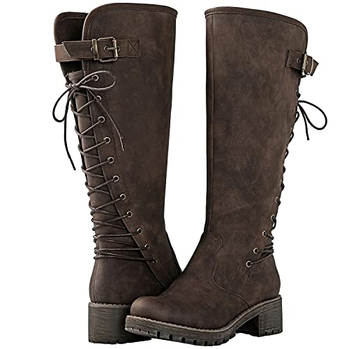 GLOBALWIN Women's Chunky Heel Brown Lace Up Back Knee High Fashion Boots 11M