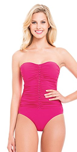 Profile by Gottex Women's Center Detail Bandeau One Piece Swimsuit, Gala Rose, 8