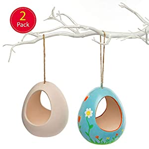 Ceramic Bird Feeders Kits for Children to Paint Decorate and Hang (Box of 2)